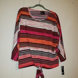 NWT NEW DIRECTIONS PINK, RED & BLACK Stripes XL